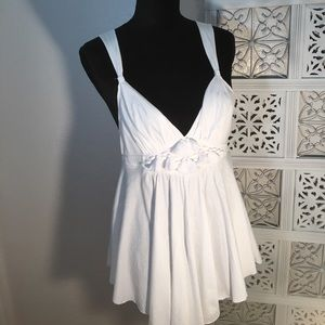 Rebecca Taylor White Cotton Cami/Halter Top